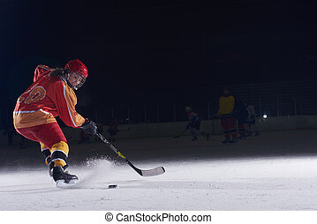teen ice hockey player in action - teen girl children ice...