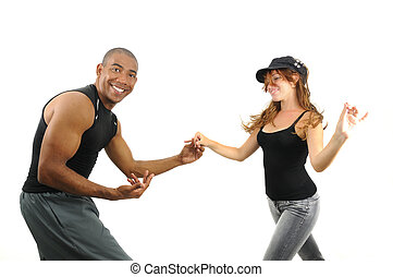 Couple dancing isolated - Portrait of young multiracial...