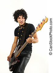 adolescent, basse, guitare, hispanique, branché, jouer