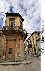 Havana street with eroded building - Corner in Havana street...