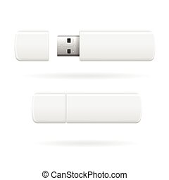 USB Flash Drive Vector - USB Flash Drive White and Empty...