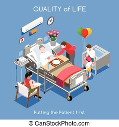 Hospital 01 People Isometric - Healthcare Quality of Life as...