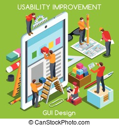 GUI design 03 People Isometric - GUI design Tablet App UI UX...