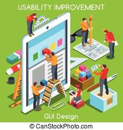 GUI design 03 People Isometric - GUI design Tablet App UI UX...
