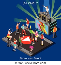 DJ Performance People Isometric - Just Dance Disco DJ Party...