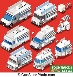 Food Truck Set04 Vehicle Isometric - Food Truck WHITE...