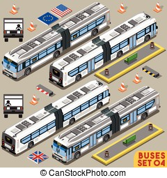 Bus Set 04 Vehicle Isometric - Left Hand Drive Articulated...