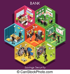 Bank 01 Cells Isometric - Bank Savings Financial Security...
