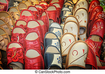 Colorful slippers for sale, Krakow, Poland