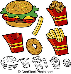 Burger Fries Onion Rings Set - Cartoon burger fries onion...