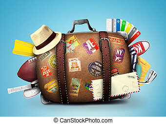 Suitcase - Full suitcase of a traveler with travel stickers