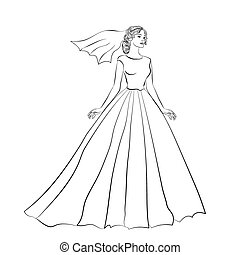 The   bride in a wedding dress.