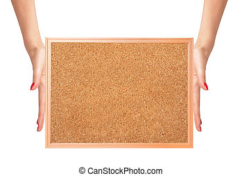 cork-board in woman hands isolated on white