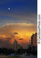 Nightfall in havana with moon - Havana cityscape at sunset...