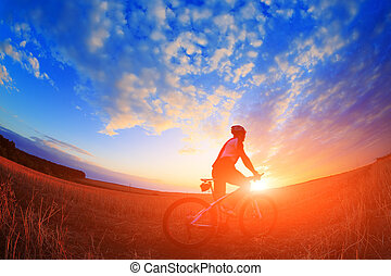 mountain bicycle rider on the hill