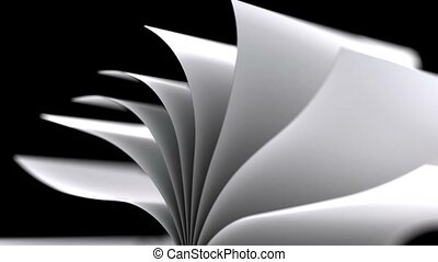 Book slow motion repeatly move over black background - high...