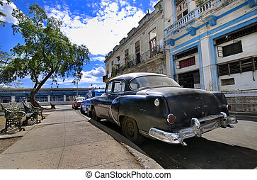 Havana Street with Oldtimer - A view of havana street with...