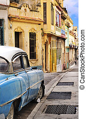 Colorful Havana facades and oldtimer - Detail of old car in...