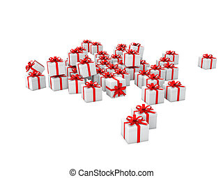 3d white gift boxes with red ribbon