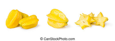 star fruit carambola - Yellow Carambola isolated on white...