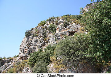 Ancient rock-cut tombs in Myra, Demre, Turkey