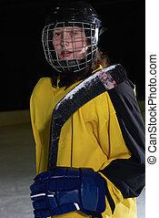 teen girl ice hockey player portrait - young teen girl ice...