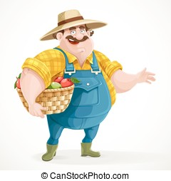 Fat farmer in overalls holding a basket of apples and shows...