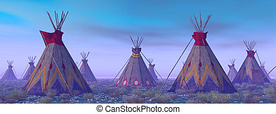 Indian Camp at Dawn - Computer generated 3D illustration...
