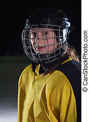 teen girl ice hockey player portrait - young teen girl ice...