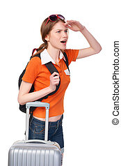 Smiling girl with backpack and suitcase - Looking forward...