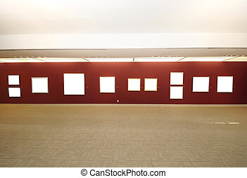 Modern art gallery space with blank canvas - A view of...