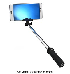 3d selfie stick with smartphone on white background