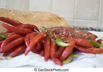 Calabrese hot salami a coarsely ground pork salami of...