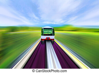 overhead railway - High-speed train with motion blur in the...