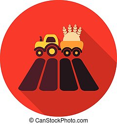 Tractor on field flat icon with long shadow