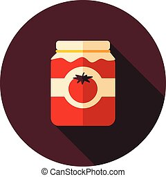 Tomato canned flat icon with long shadow, eps 10