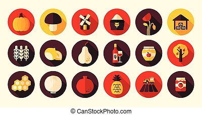 Autumn Harvest Thanksgiving flat icon, eps 10