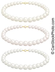 Pearl necklace - A white pearl necklace selection with...