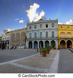 Old havana plaza with colorful buildings