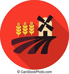 Field with a mill and wheat flat icon