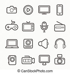 device and multimedia line icon