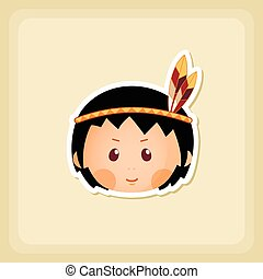 American Indian children icon, Thanksgiving day, eps 10