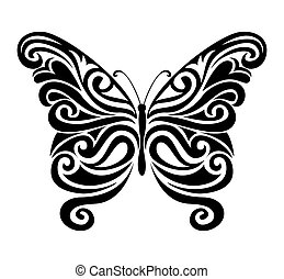 Ornamental butterfly silhouette. - Decorative ornamental...