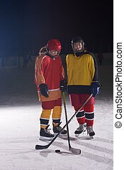 teen girls ice hockey players portrait - young teen girls...