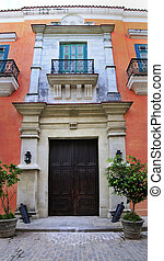 Old havana colonial building facade - Detail of facade from...