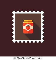 Tomato canned flat stamp with long shadow, eps 10