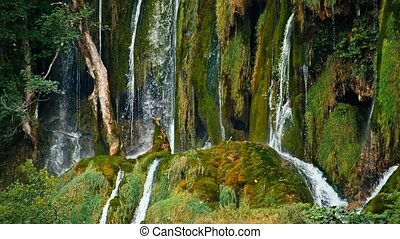 Lakes with waterfall in Croatia, Europe Location: Plitvice,...