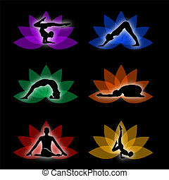 A set of yoga and meditation symbols