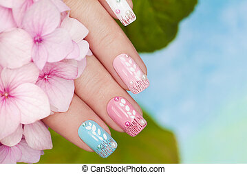 Manicure with Hydrangea. - Pastel manicure with rhinestones...