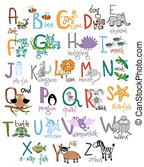 Zoo alphabet Ant bee cow dog frog hedgehog goat insect...